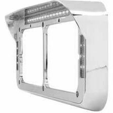 Rectangular Dual Light LED Headlight Bezel Visor for Peterbilt Freightliner Kenworth