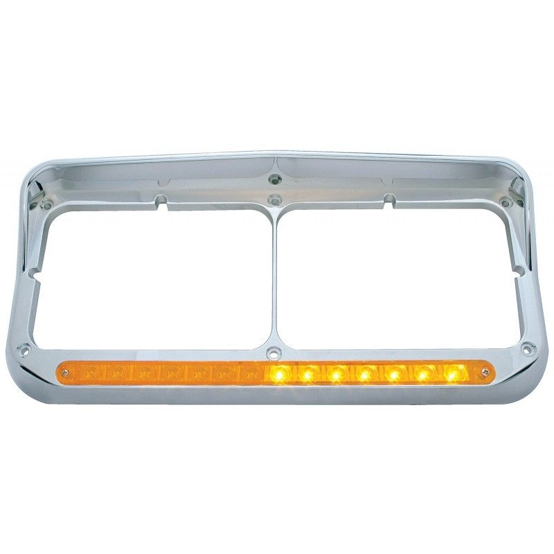 LED Dual Headlight Bezel with Visor for Peterbilt Freightlin‰ÛÜer Kenworth, Set