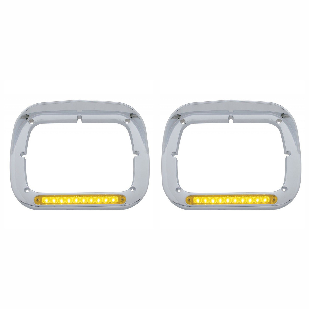 10 Amber LED Rectangular Headlight Bezel with Visor for Semi Trucks, Pair