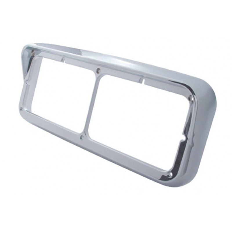 Rectangular Dual Light Headlight Bezel with Visor for Peterbilt Freightliner Kenworth