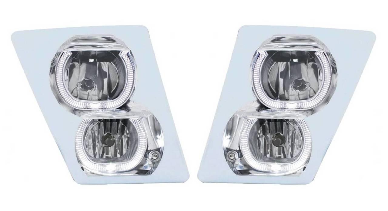 Chrome Plastic Fog Light Covers Bezels for Volvo Trucks