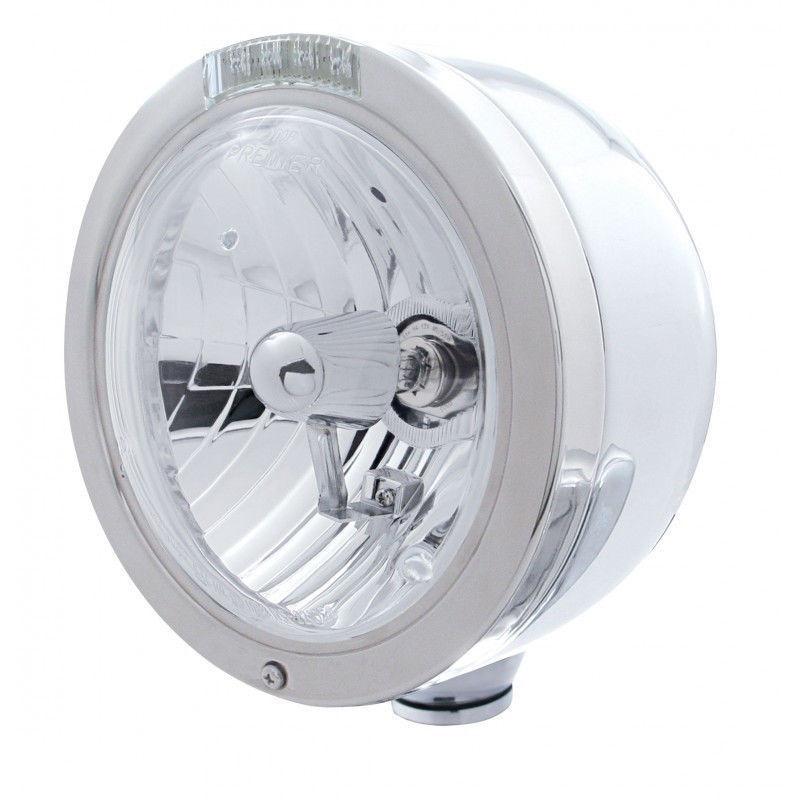 Bullet Half-Moon Peterbilt Style Headlight w/ Turn Signal - Amber LED/Clear Lens