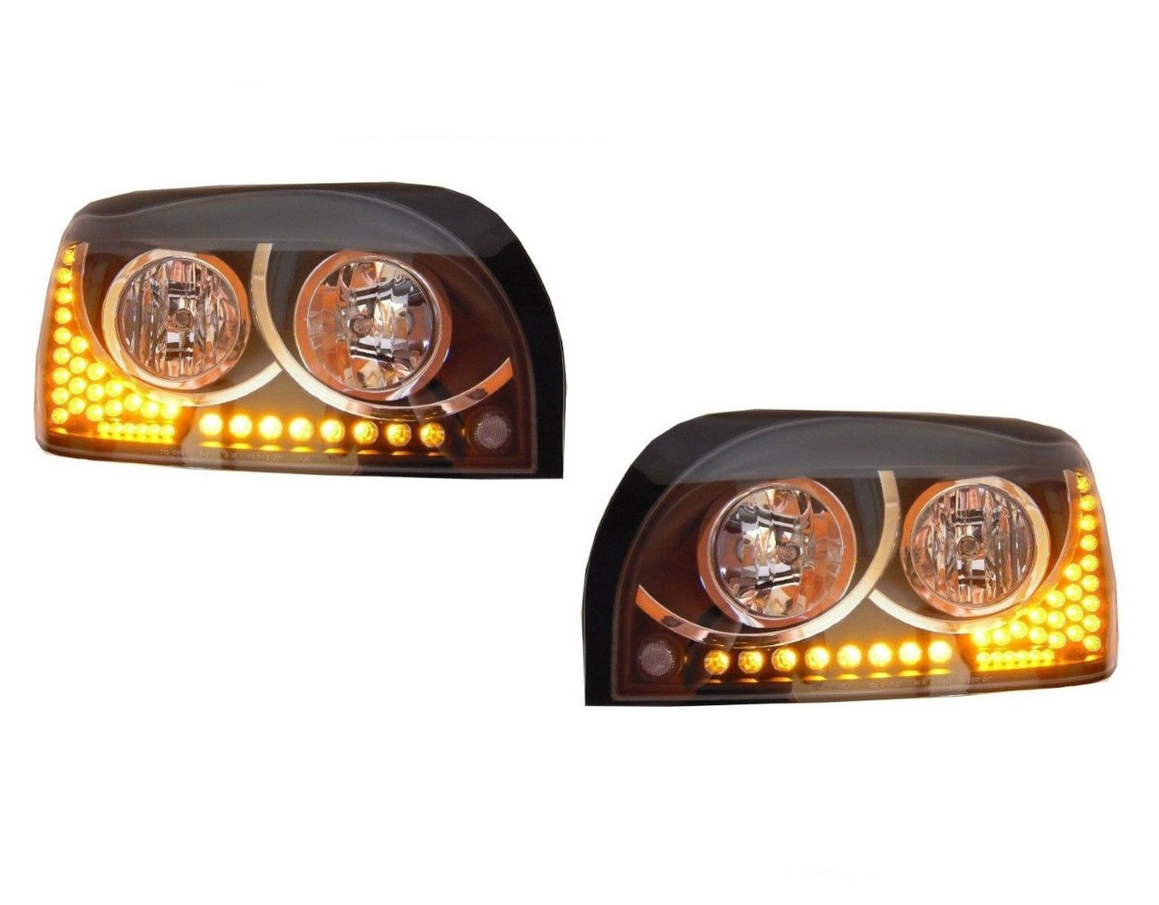 Freightliner Century  Headlight (SET) Black & Chrome Led turn signal