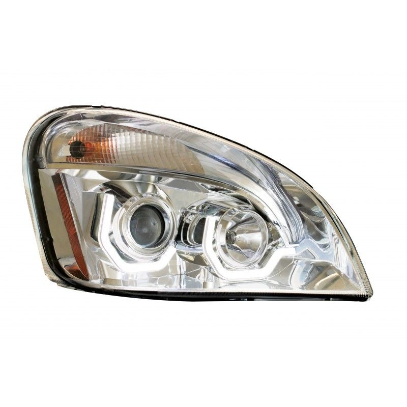 Freightliner Cascadia Chrome Projection Headlight With LED Bar, Passenger Side