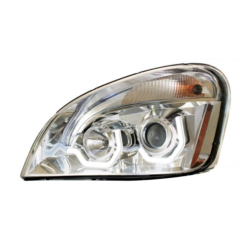 Freightliner Cascadia Chrome Projection Headlight With LED Bar, Driver Side