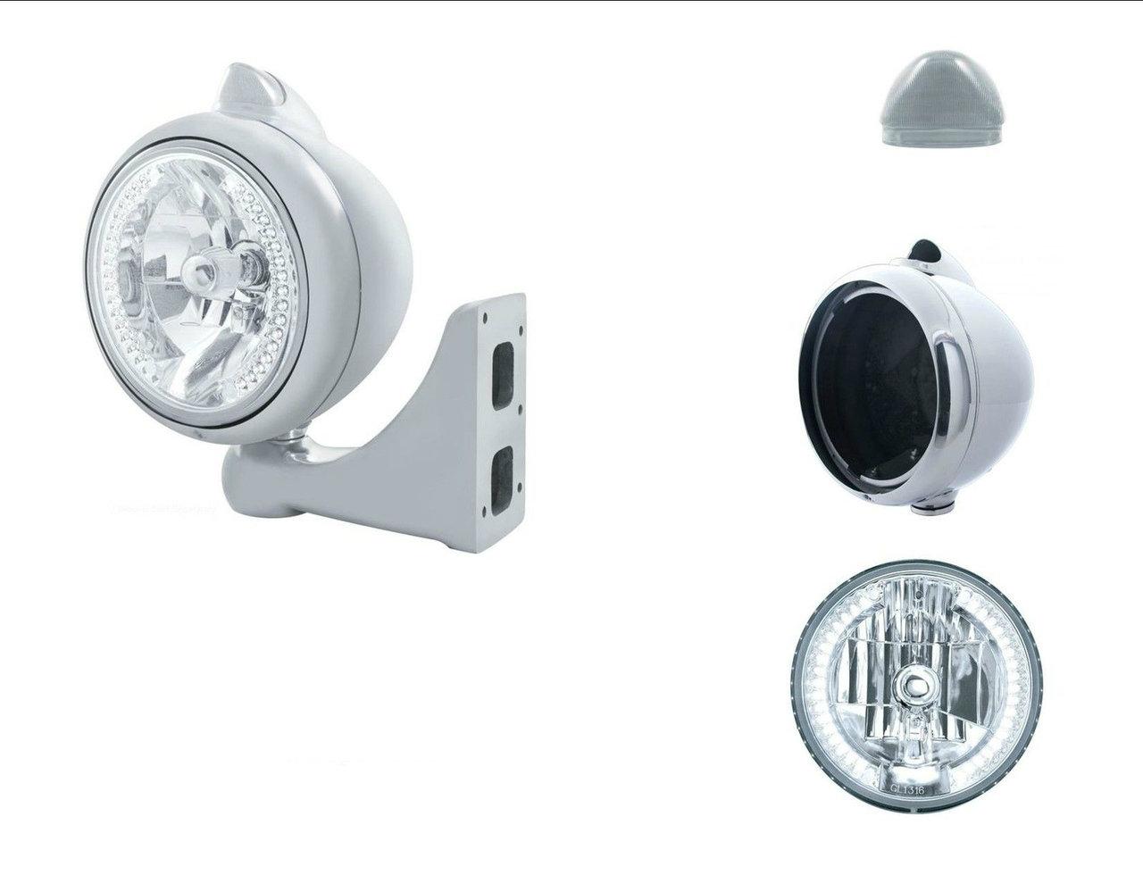 Peterbilt Kenworth Headlight - w/ 34 LED Headlamp and LED Signal (White/Clear)X1