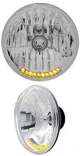 Peterbilt Kenworth Lights 7inch Crystal Headlight 10 Amber LED set of 2 lights