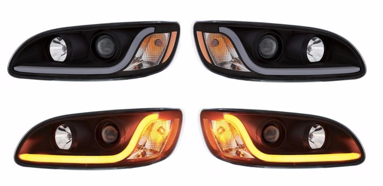 Peterbilt 386/387 LED Projection Headlight SET- (BLACKOUT STYLE)