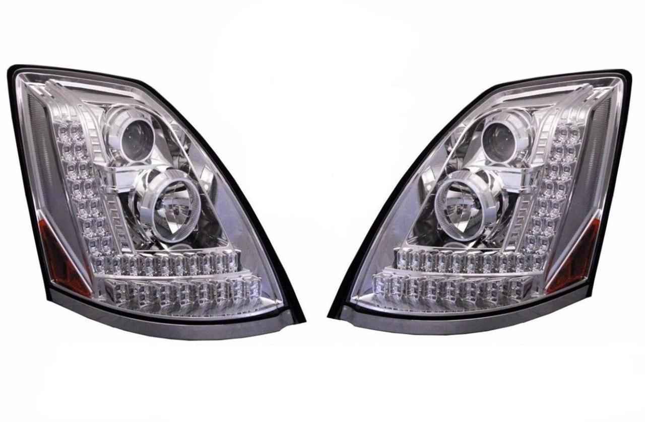 Volvo VN VNL Projection Headlights, Chrome Version, Set