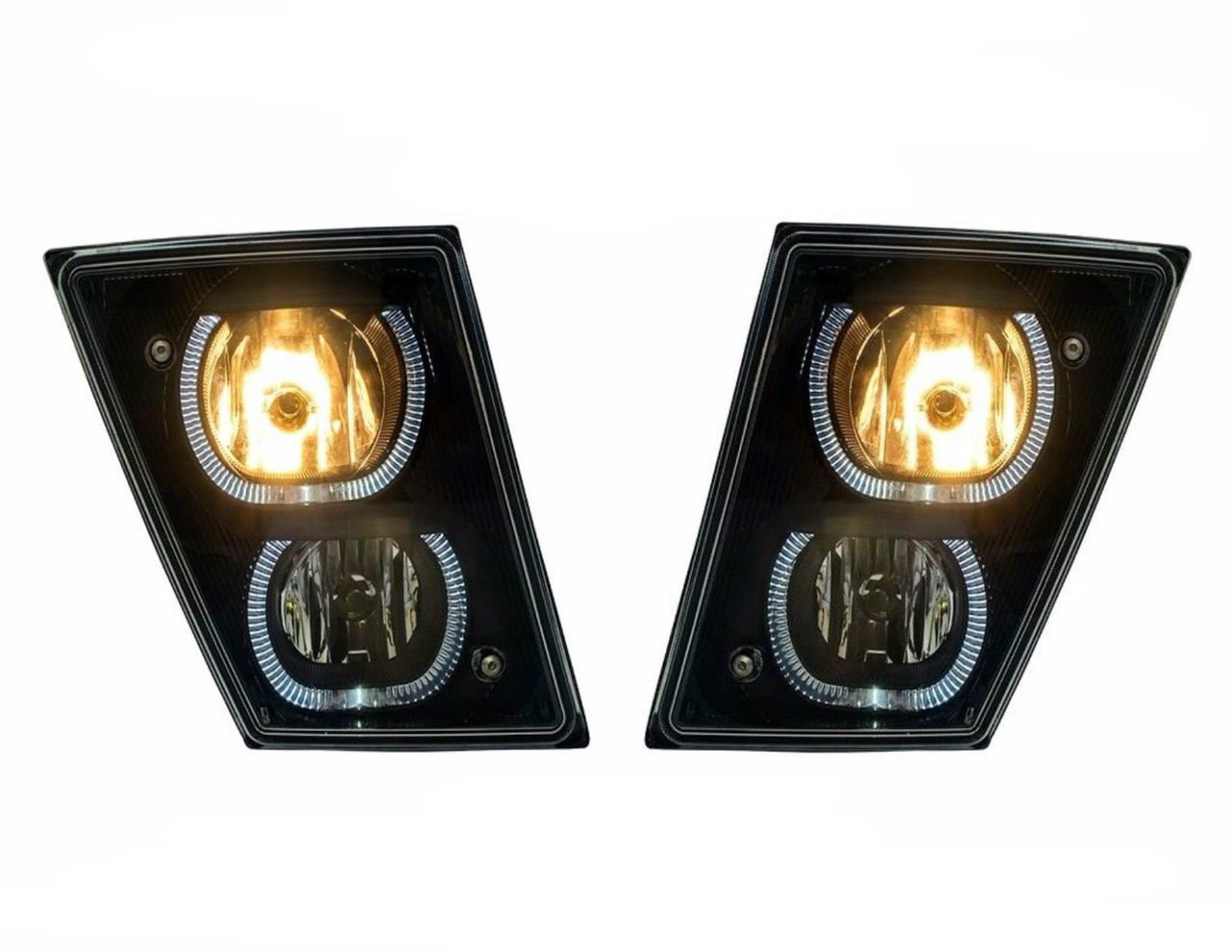 Volvo VN/VNL (Black) Fog Driving Lights With White LED Light Bars (Pair) 2004 & Newer