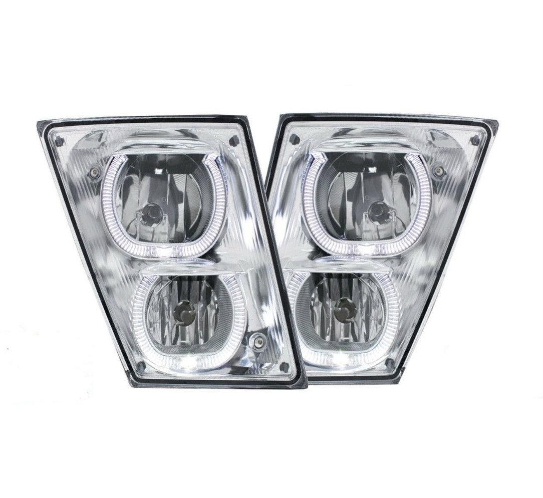 VOLVO VN//VNL CHROME PAIR 2003+ FOG LIGHTS w// White LED Light Bars