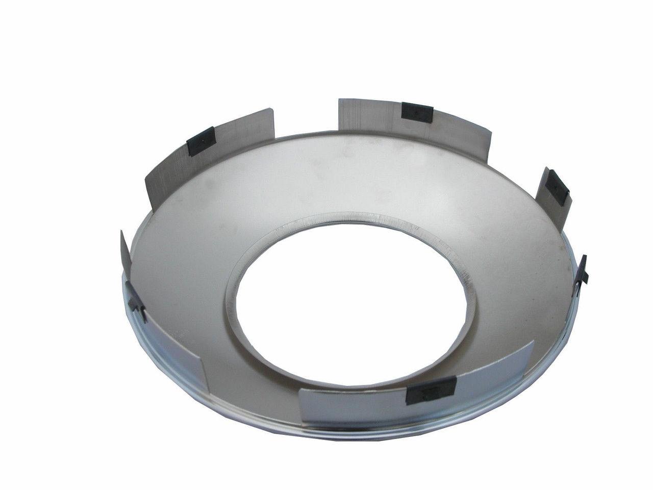 "Chrome Front Hub cap (hubdometer hole 8"" ID) 1"" Lip   6 Clips"