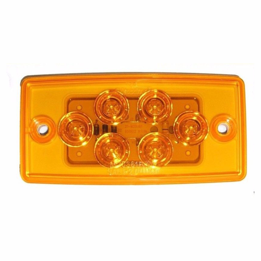 5 Flush Mount Volvo Freightliner Roof Cab Clearance Marker Light LED Amber