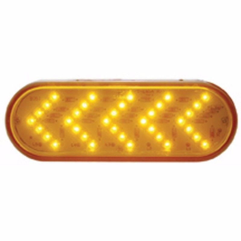 Sequential Arrow Turn Signal (35 LED) Oval light for Semi Trucks - Amber LED with Amber Lens