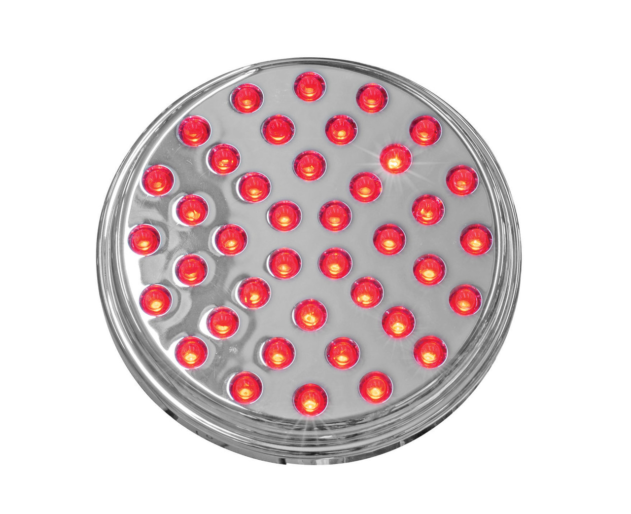 """4"""" Chrome (S/T/T) Lamp (40 LED) Red LED with Clear Lens"""
