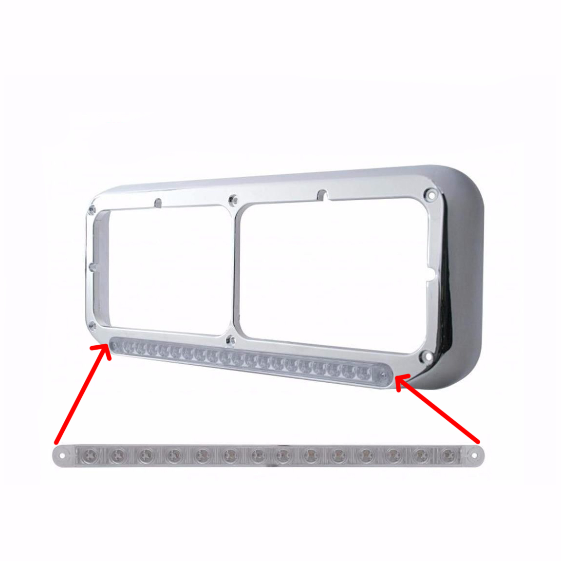 "14 LED 12"" Turn Signal Light Bar - AmberLED with Clear Lens, Sequential LED"