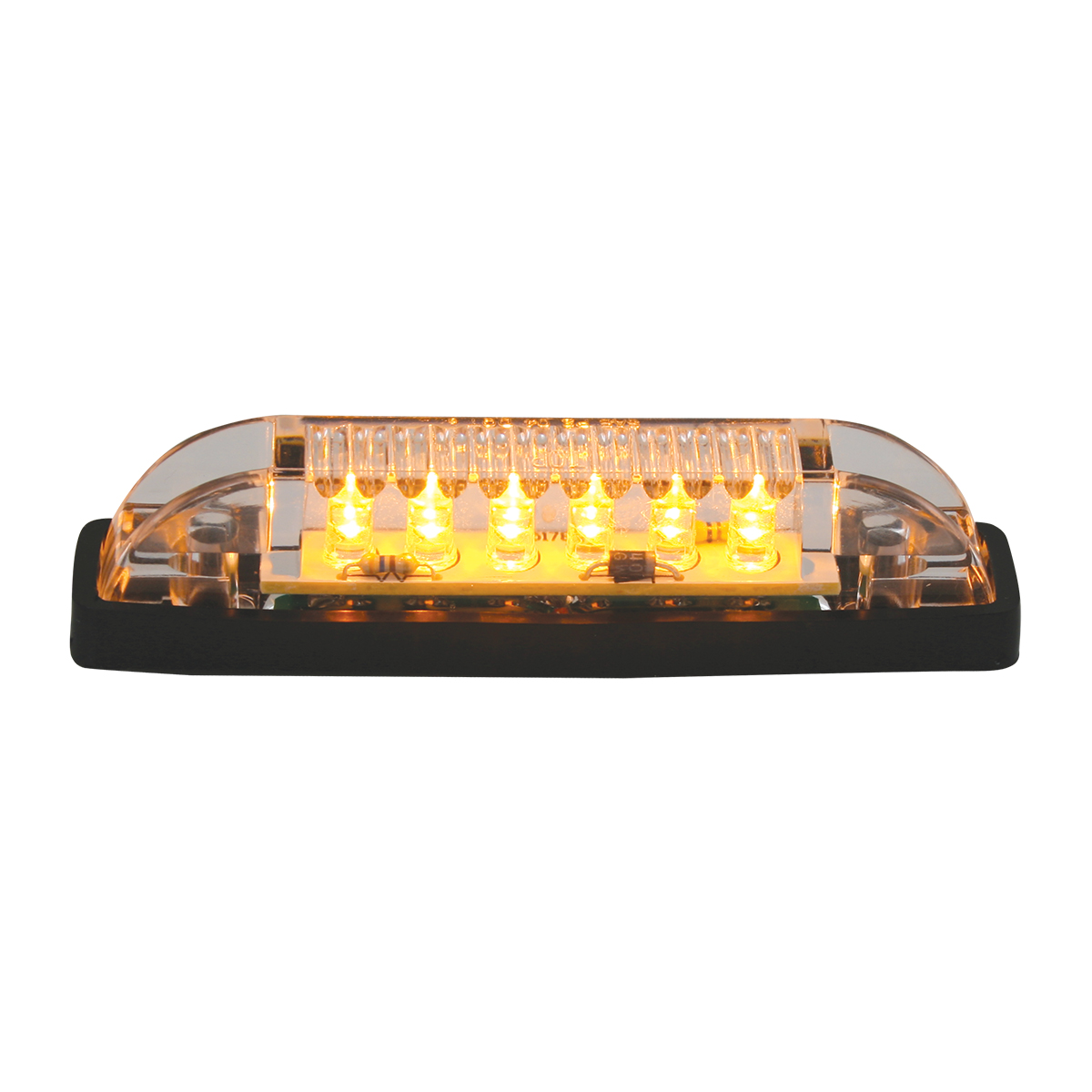 Thin Line Wide Angle - 6 LED Marker Light - (Amber LED with Clear Lens)