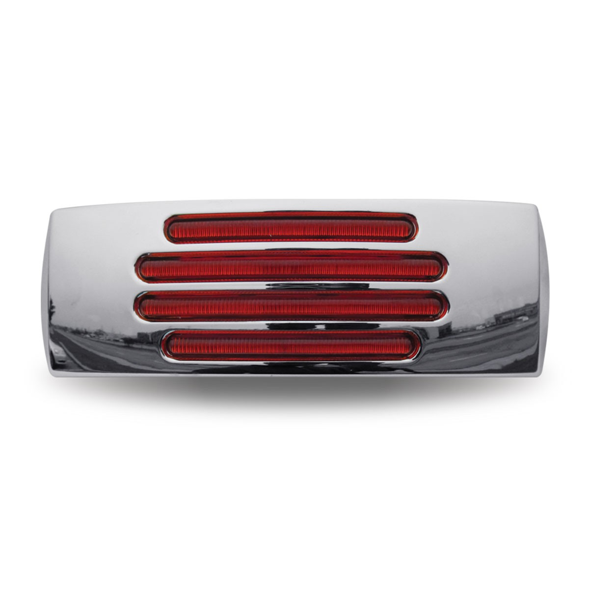 "2"" x 6"" Flatline Red Rectangular LED Trailer Clearance Marker Light - Red LED with Red Lens"