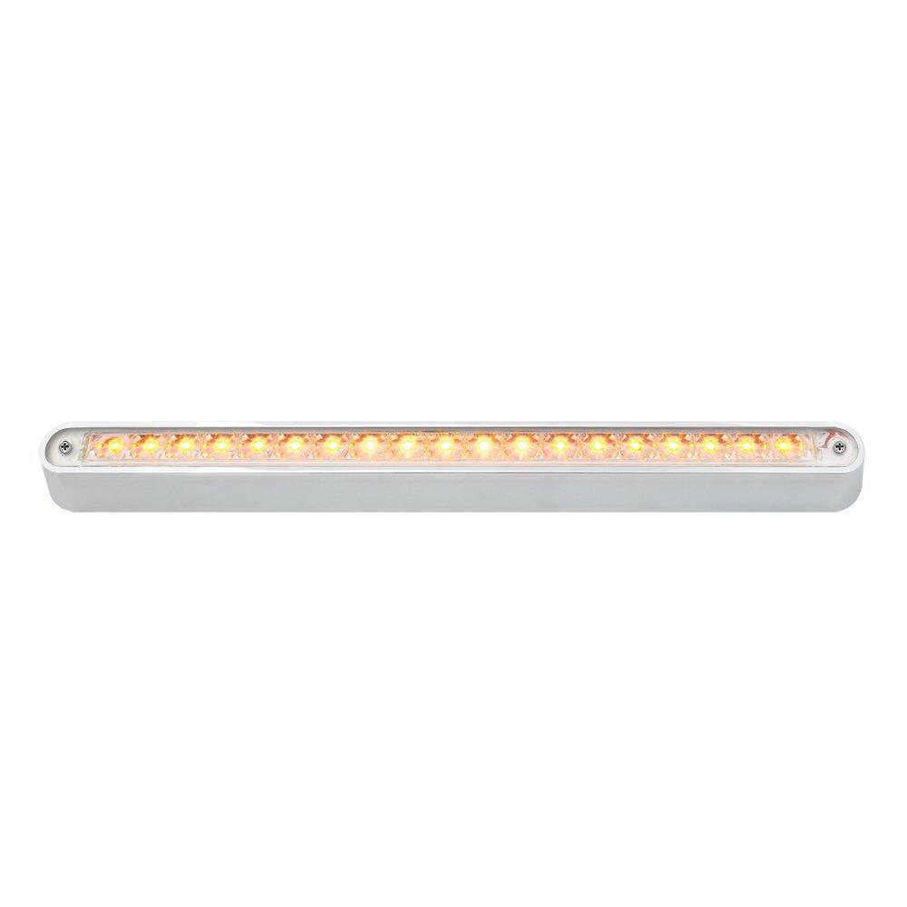 "12"" Flush Mount LED Light Bar with Chrome Base -19 LED(Amber LED with Clear Lens)"