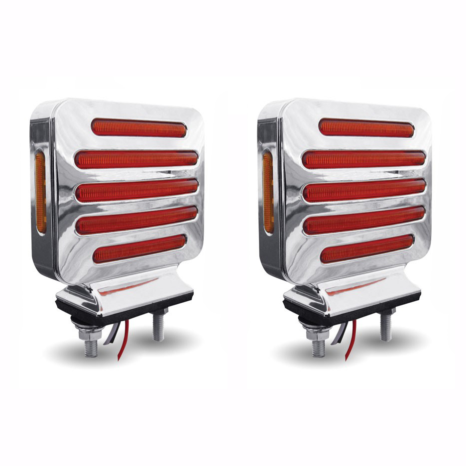 Flatline Double Face Square LED Lights (Amber/Red) PAIR - SEMI-TRUCK FENDER