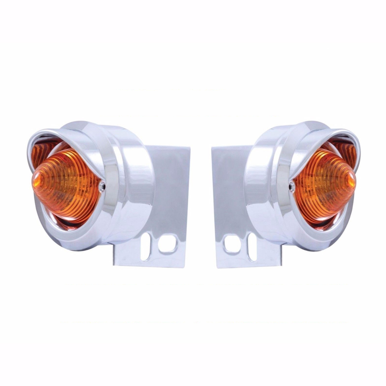 9 LED Beehive Mud Flap Hanger End Light with Visors, Amber LED with Amber Lens, Pair