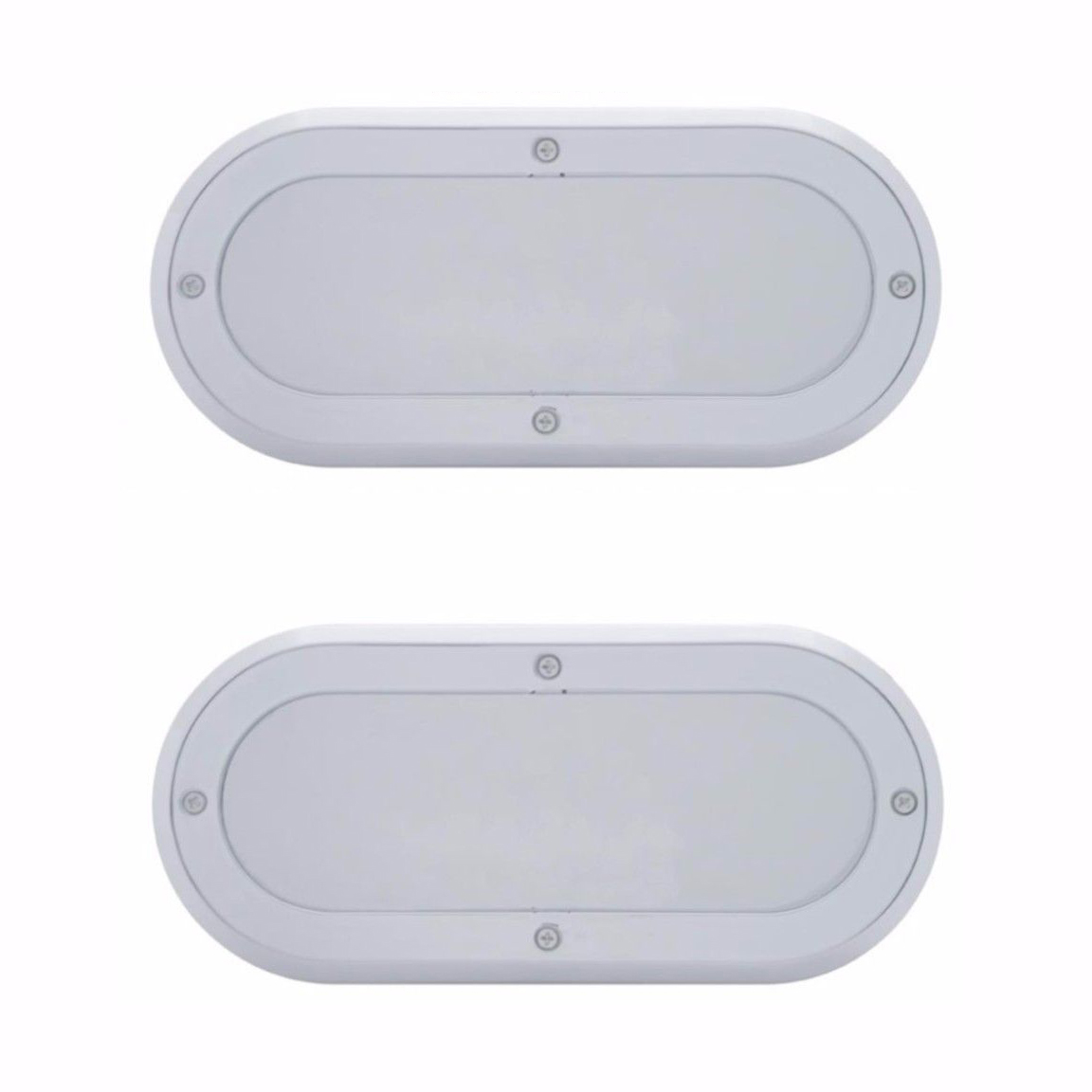 "Chrome Mirror Bezels for 6"" Oval LED Stop Turn Tail Lights, Pair"