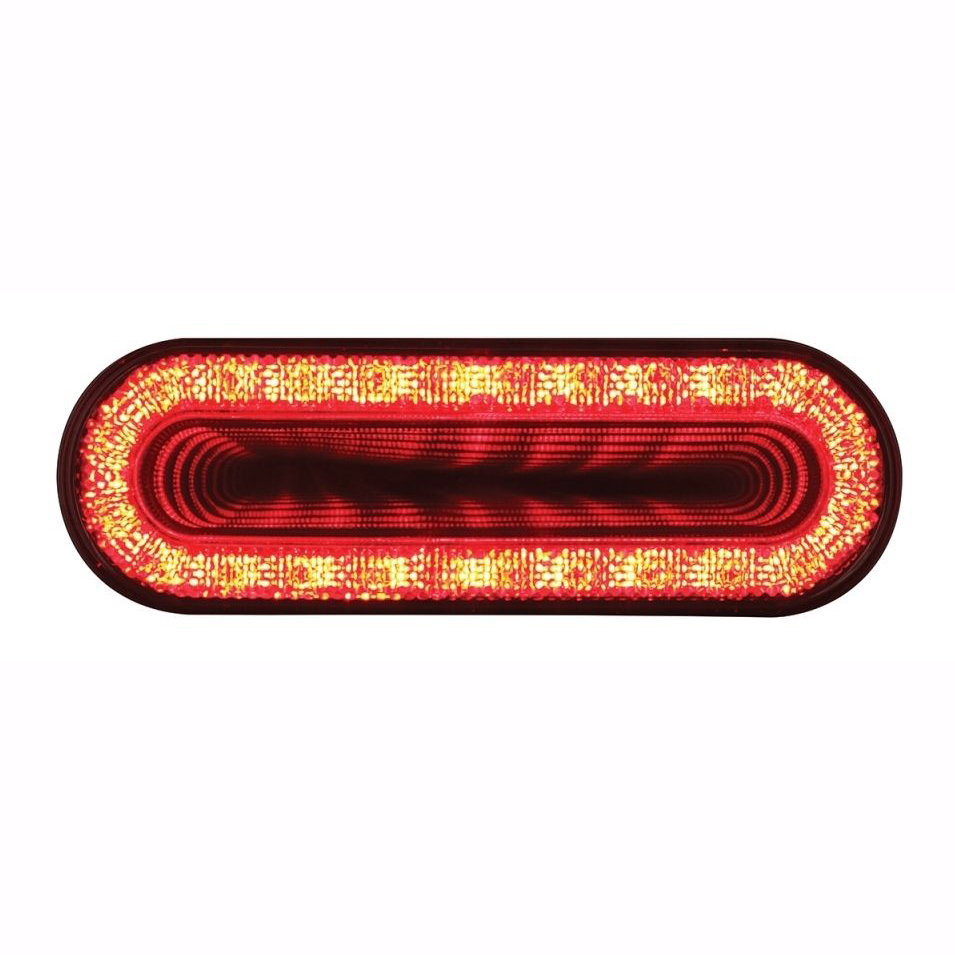 """24 LED 6"""" Oval """"Mirage"""" Stop Turn Tail Light - Red LED with Clear Lens"""