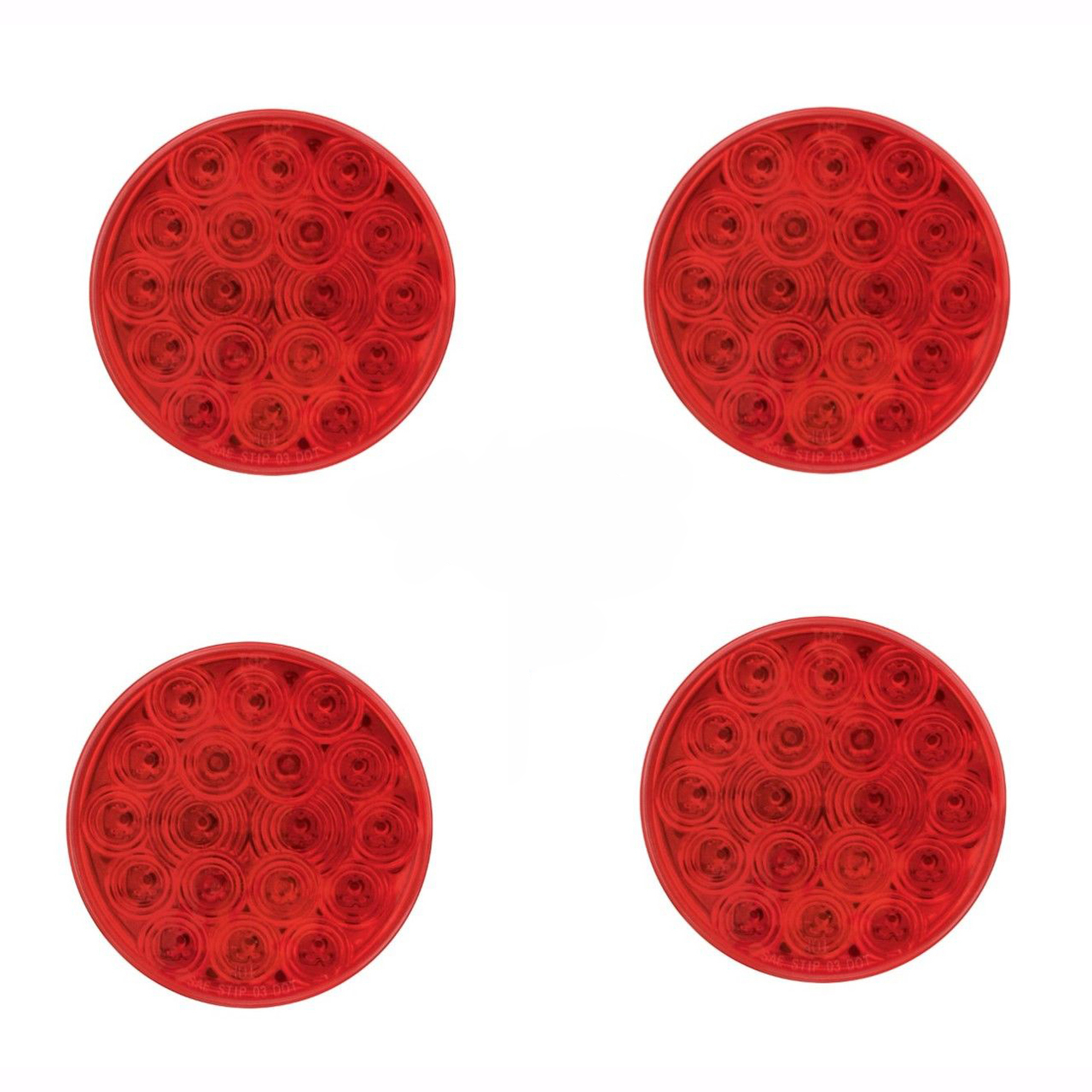 """4"""" Red 18 LED Stop Turn Tail Lights with Grommets for Semi Trucks, 4 Each"""