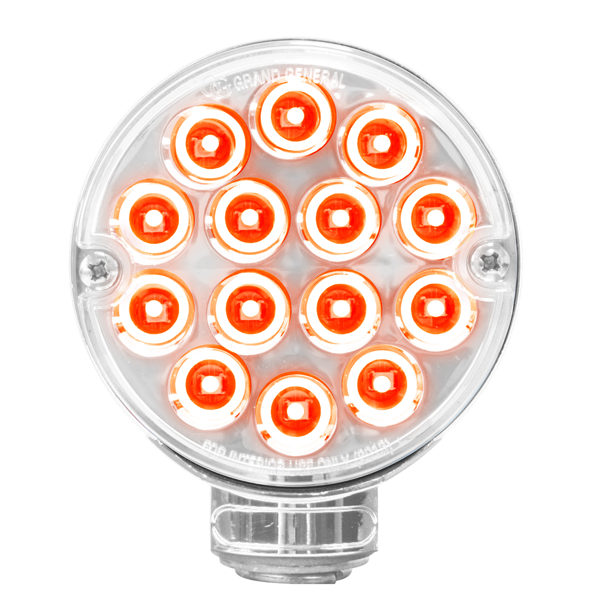 """14 LED Double Face 3"""" Red / Amber Light with Clear Lens for Semi Truck Fenders"""