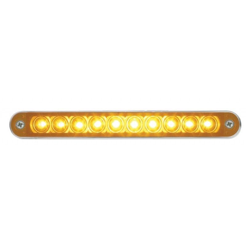 "6.5"" Stop Turn Tail 10 LED Light Bar with Bezel, Amber LED with Amber Lens,  Freightliner Peterbilt Kenworth"
