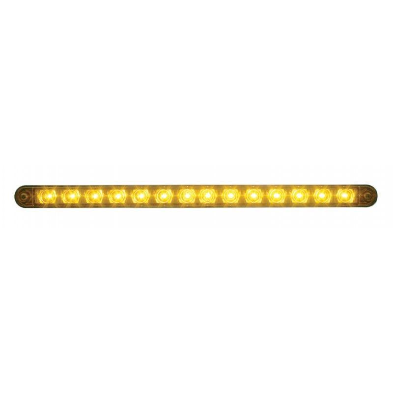 "14 LED (12"") Stop, Turn & Tail Light Bar w/ Bezel - Amber LED w/ Clear Lens"