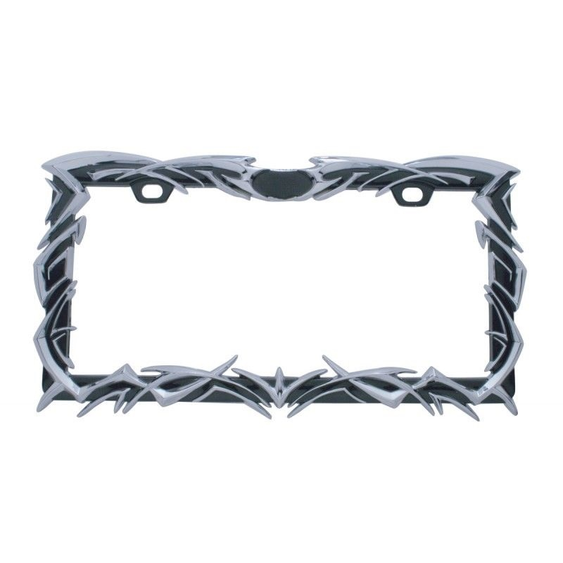 LICENSE PLATE FRAME - 3D TRIBAL FLAME DIE CAST ZINC CHROME FINISH