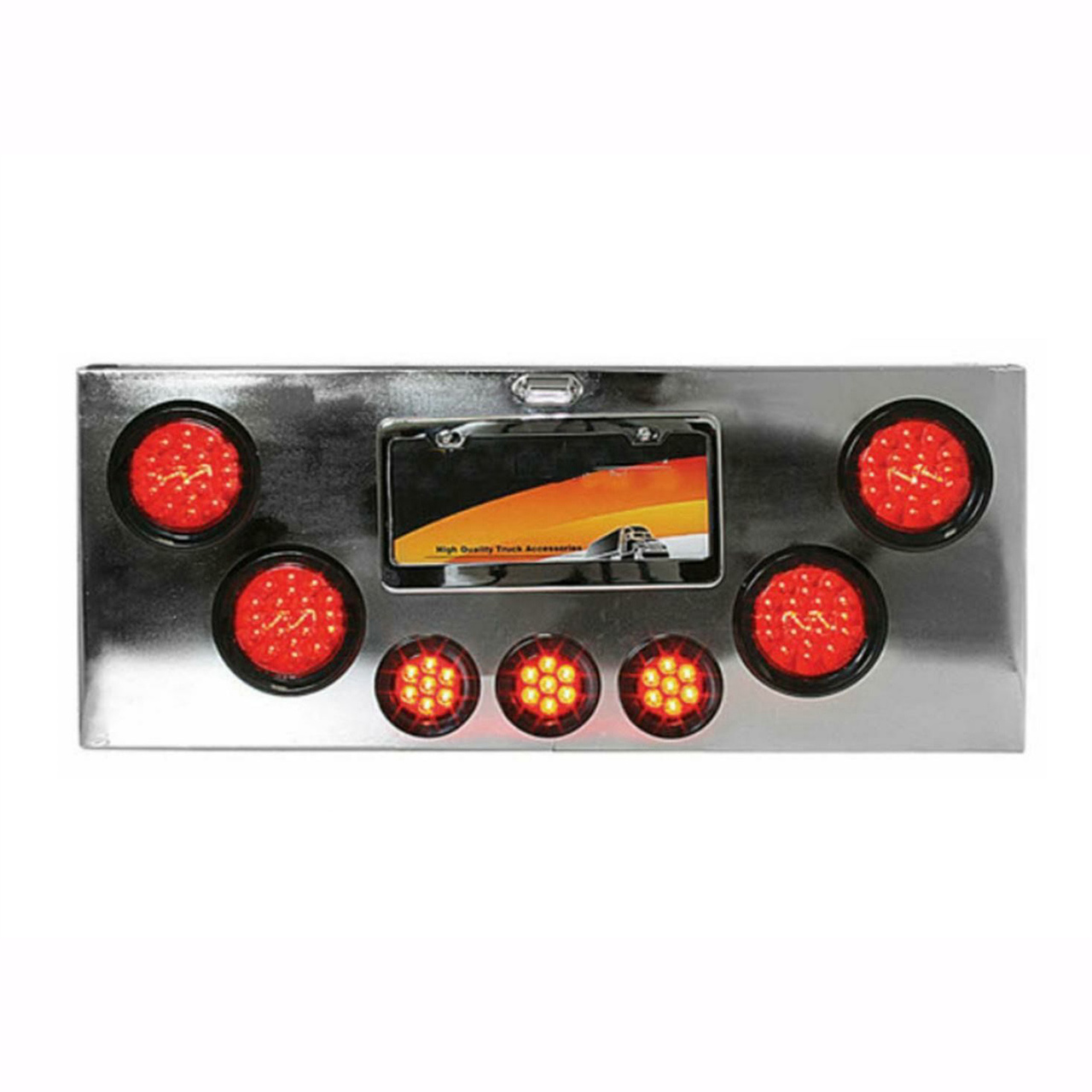 Rear Center Panel with Red LED Lights (Red Lens) Chrome Plated