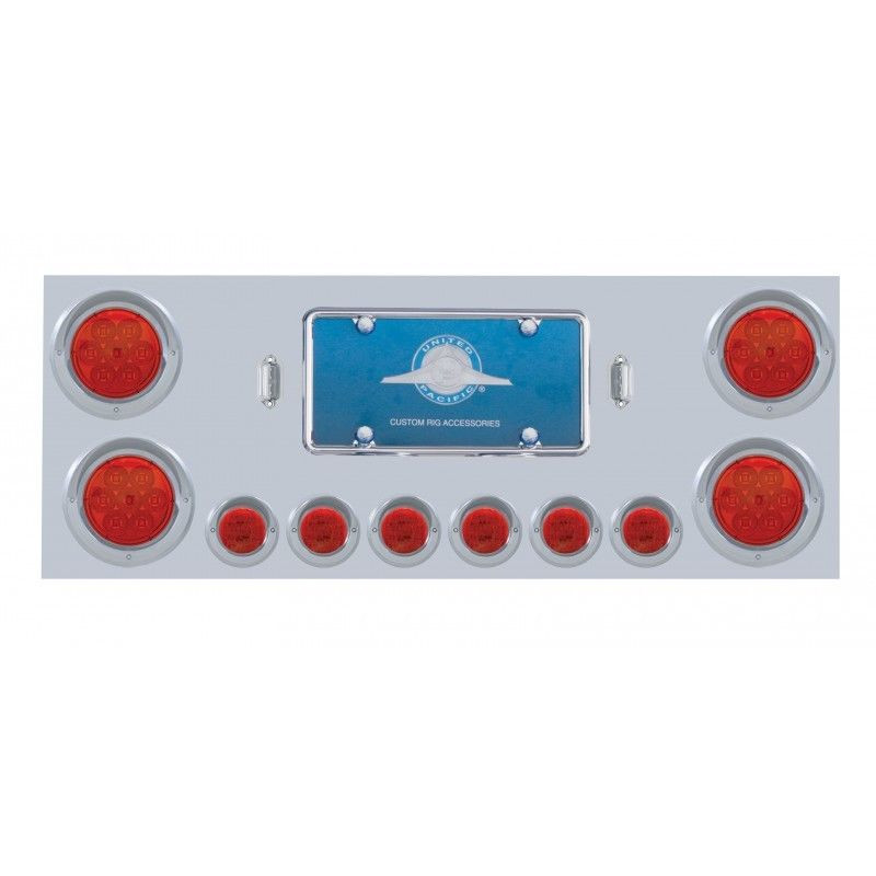 Rear Center Panel Stainless Steel w/ Red LED Lights (Red Lens) Chrome Plated
