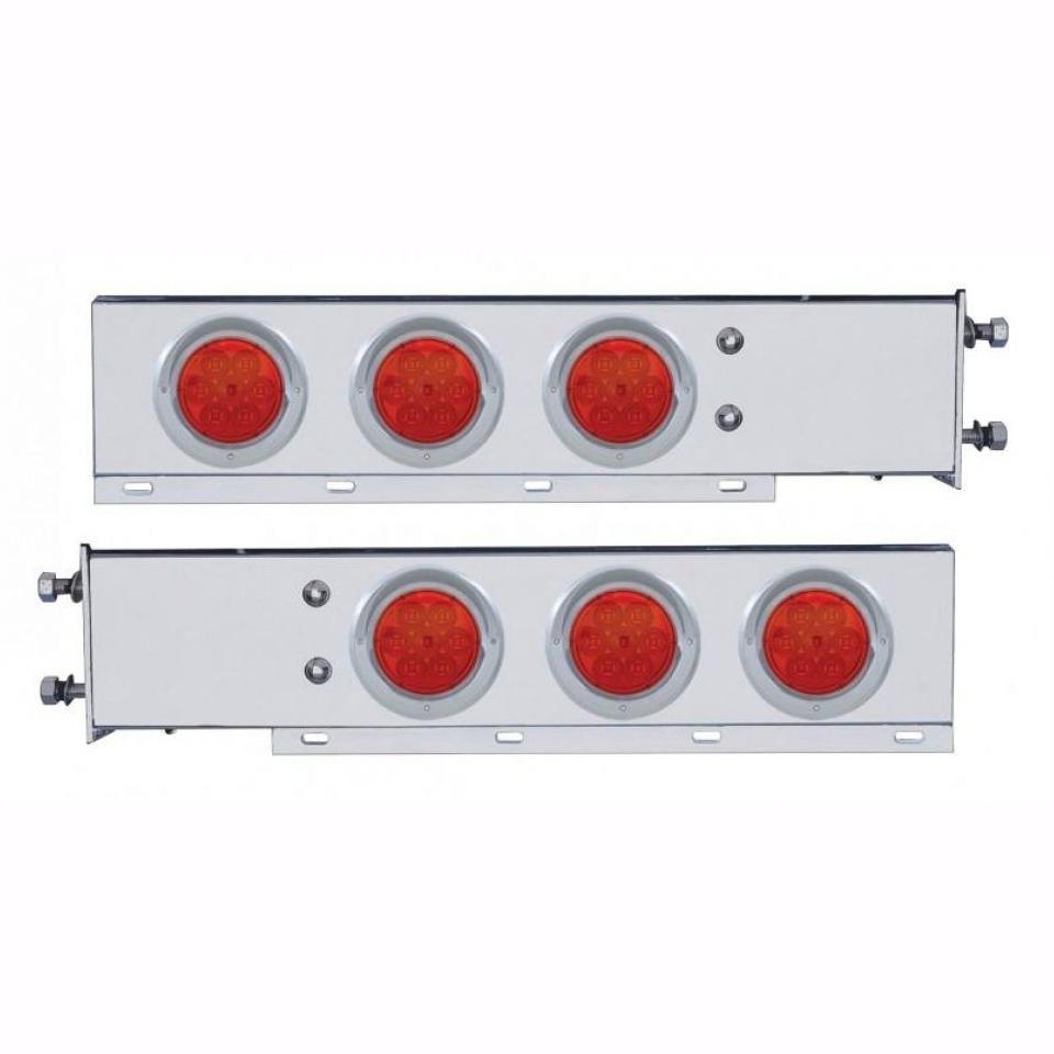 "Chromed Mud Flap Hangers w/ Red (7LED) Lights (2.5"")"