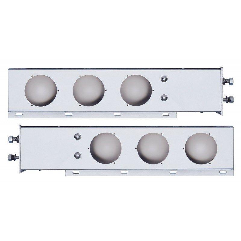 "Chromed Mud Flap Hanger Set w/Light Cutouts (2.5"")"
