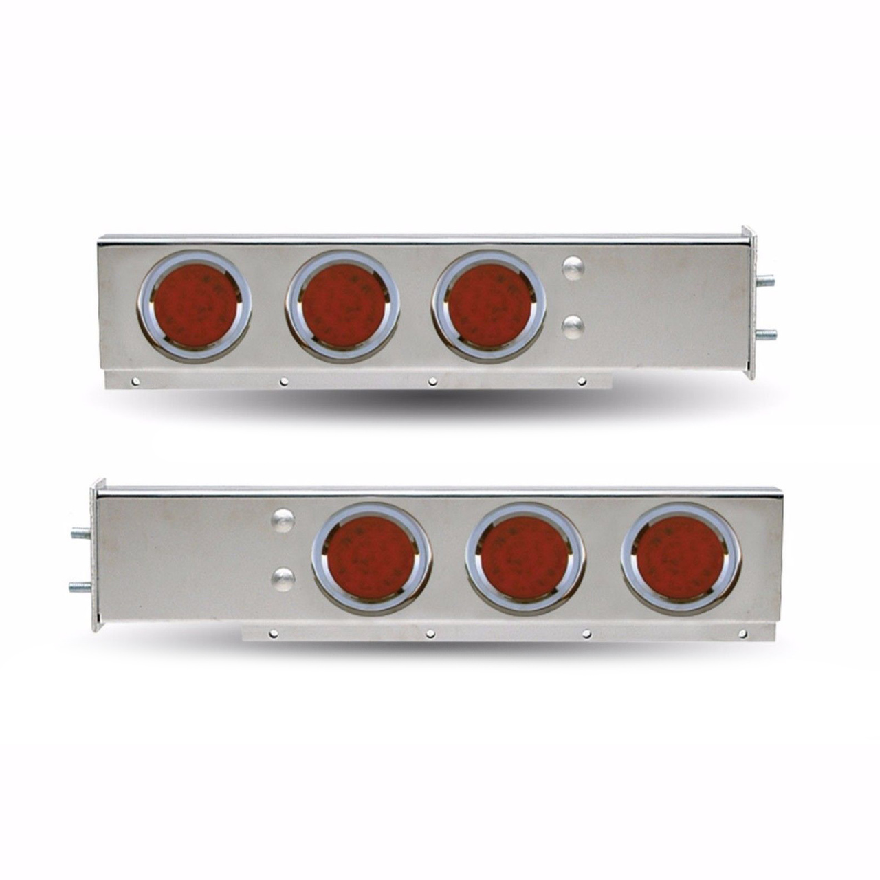 """Stainless Steel Mud Flap Hanger with Red (8 LED) Lights Spring Loaded, 2.5"""", Pair"""