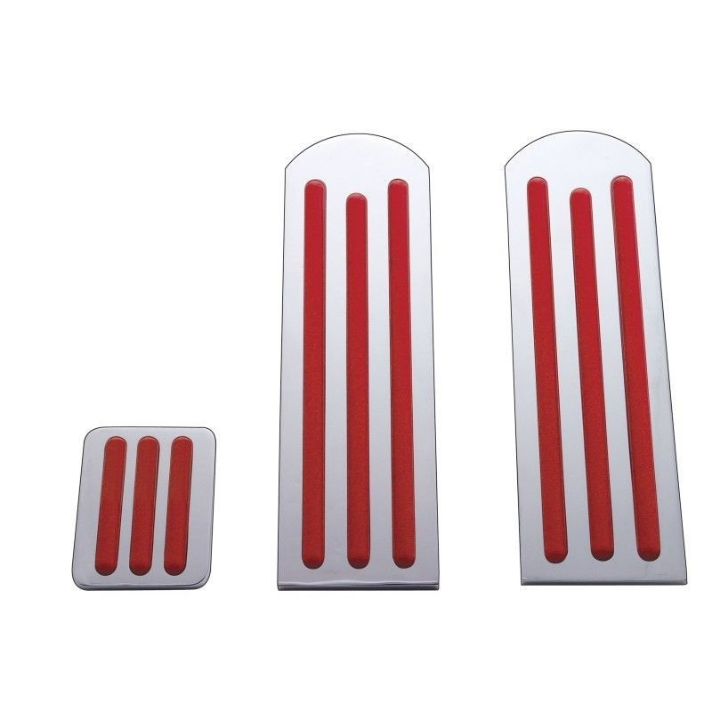 Peterbilt Chrome Aluminum Pedal Set with Red Inserts