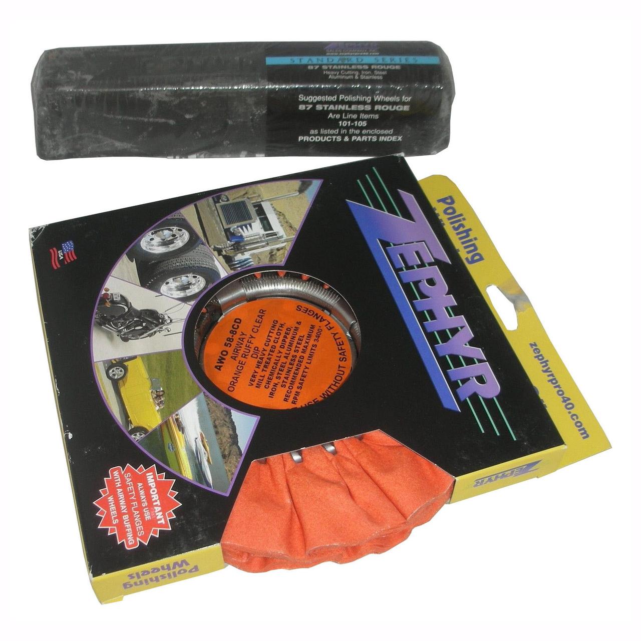 Zephyr Orange Polishing Wheel (AWO588CD) with JRGRY Stainless 87 Polishing Rouge