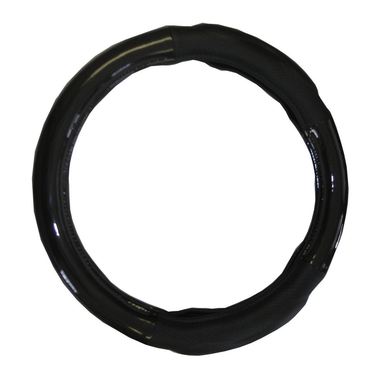 """Black Carbon Fiber Style Memory Foam Steering Wheel Cover for Semi Trucks, 18"""""""
