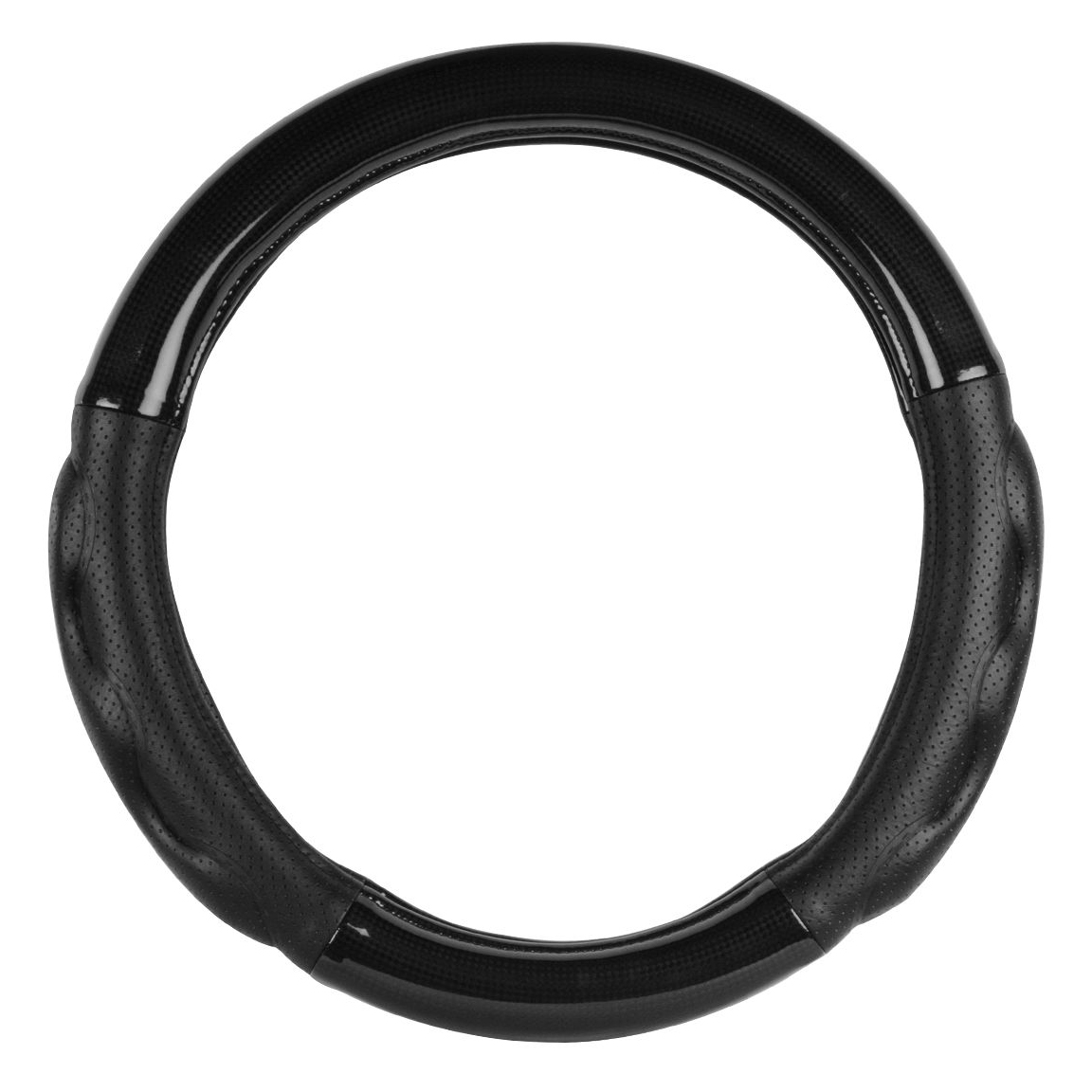 """Heavy Duty Black Carbon Fiber Truck Steering Wheel Cover with Comfort Pads, 18"""""""