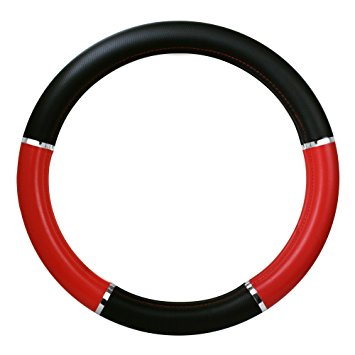 """Black and Red Heavy Duty Steering Wheel Cover with Chrome Trim, 18"""""""