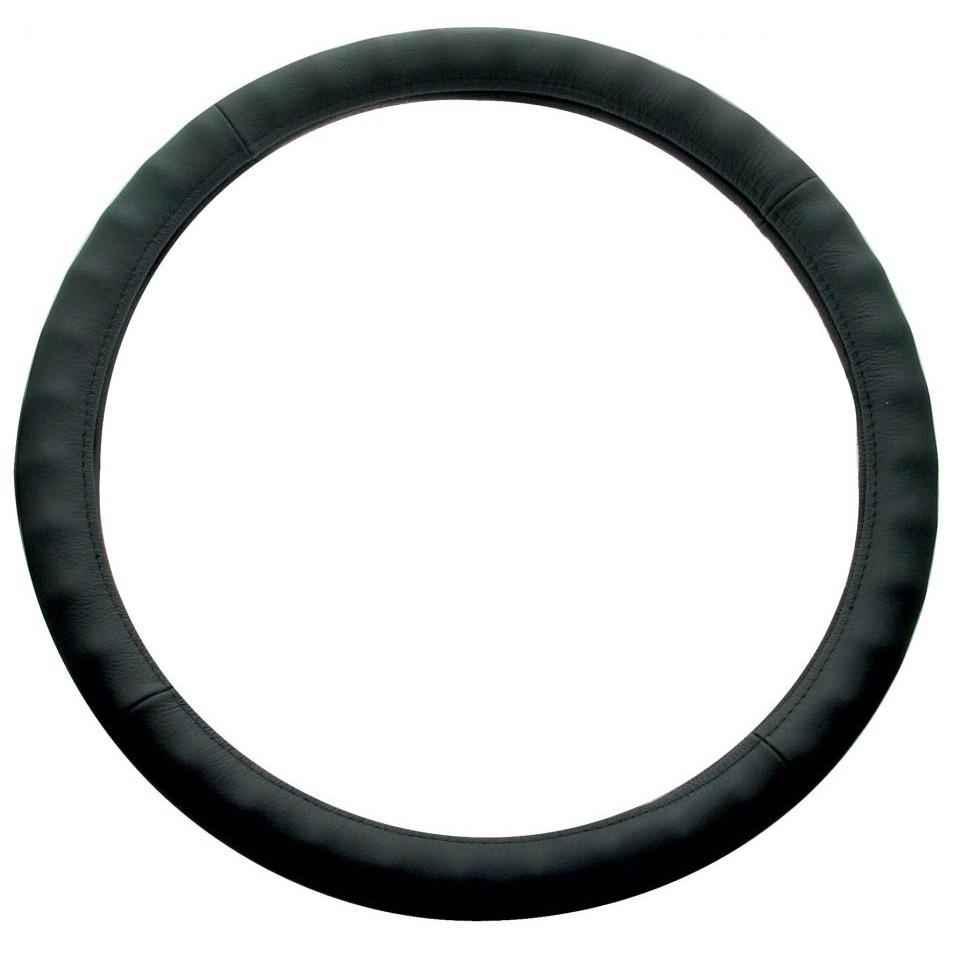 "Steering Wheel Cover for Freightliner Kenworth Peterbilt, Black Leather 18"""