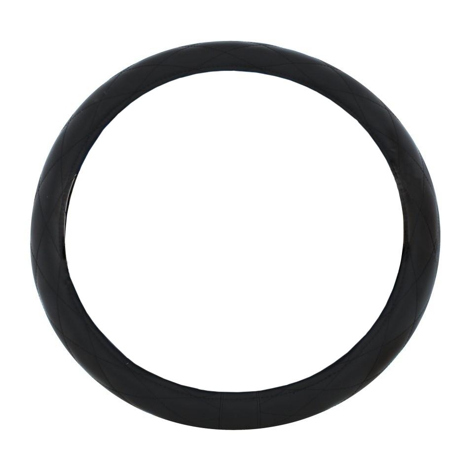 "Steering Wheel Cover - Diamond Cushion Stitch, Black with Black Stitch, 18"""