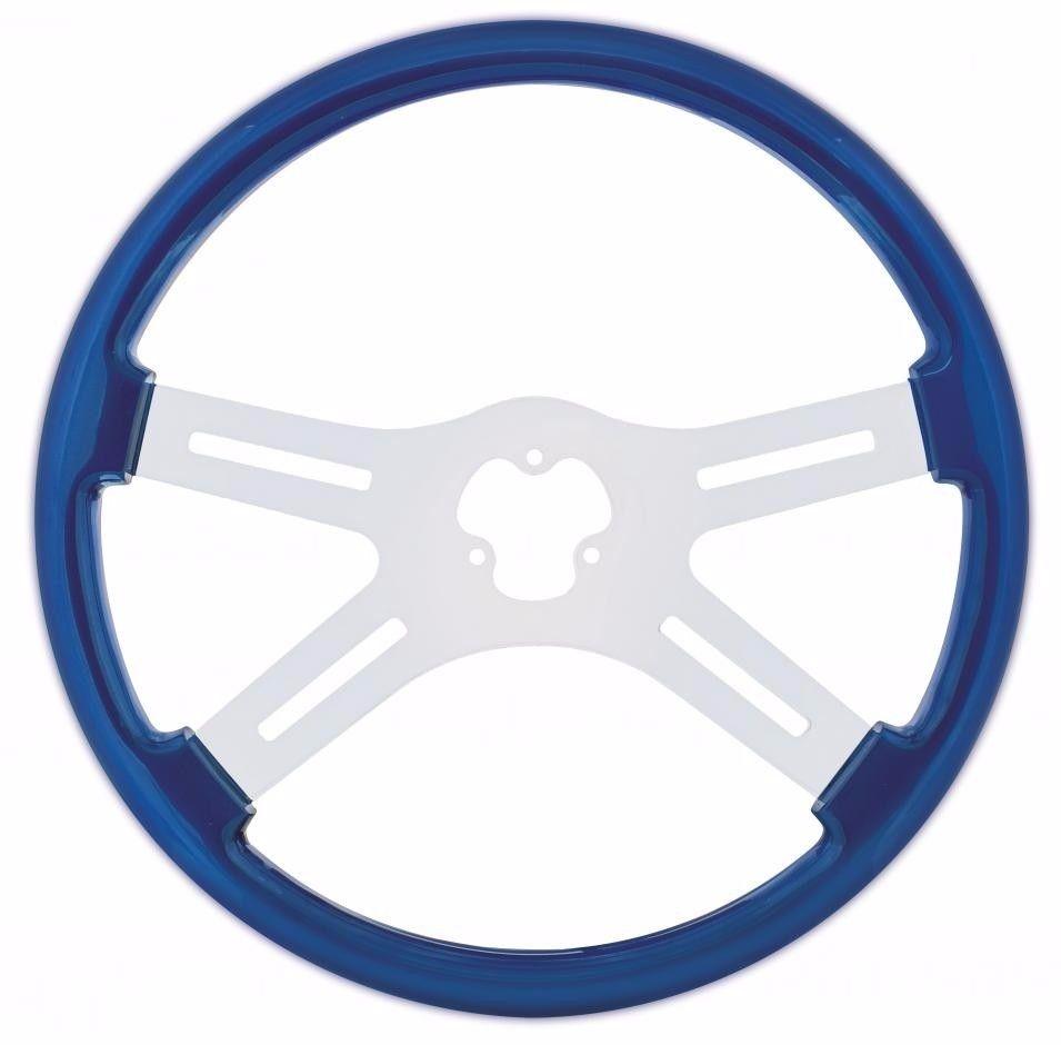 """18"""" Steering Wheel with Chrome Spoke for Peterbilt, Kenworth, Freightliner, International Trucks, Blue"""