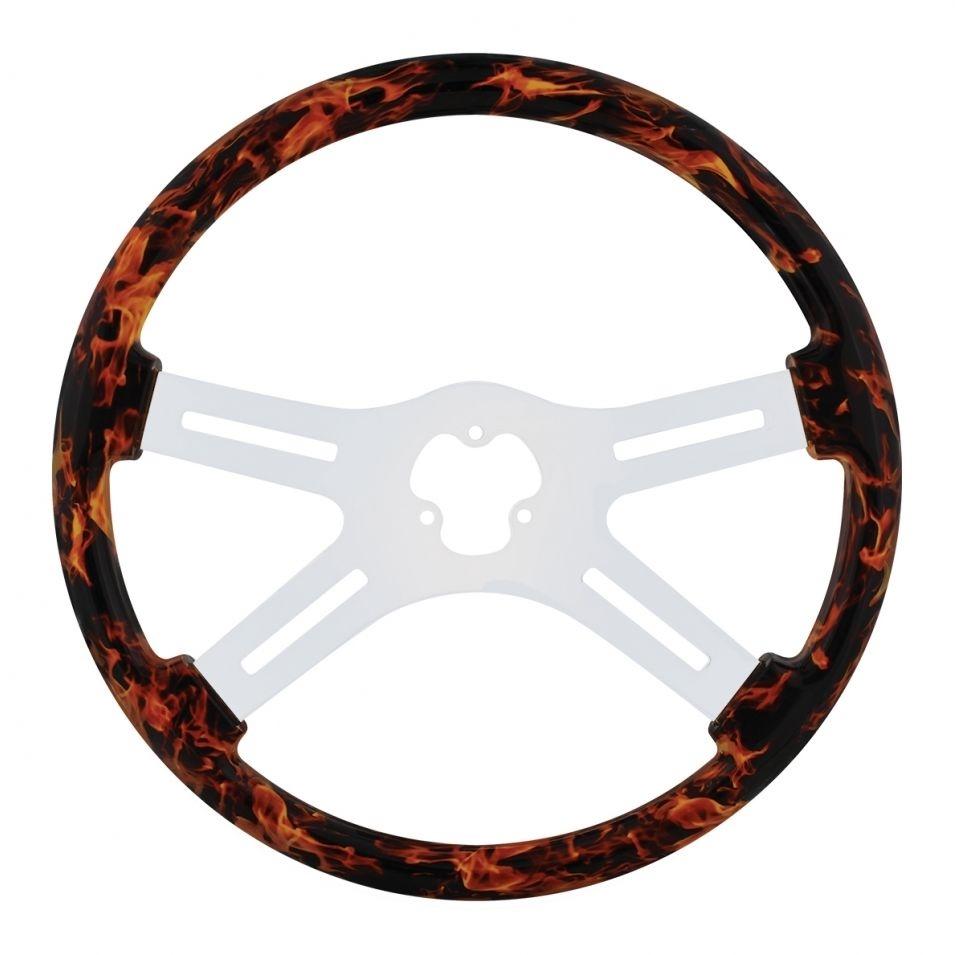 "18"" Flame Steering Wheel with Hydro-dip Finish Wood - 4 Spoke"