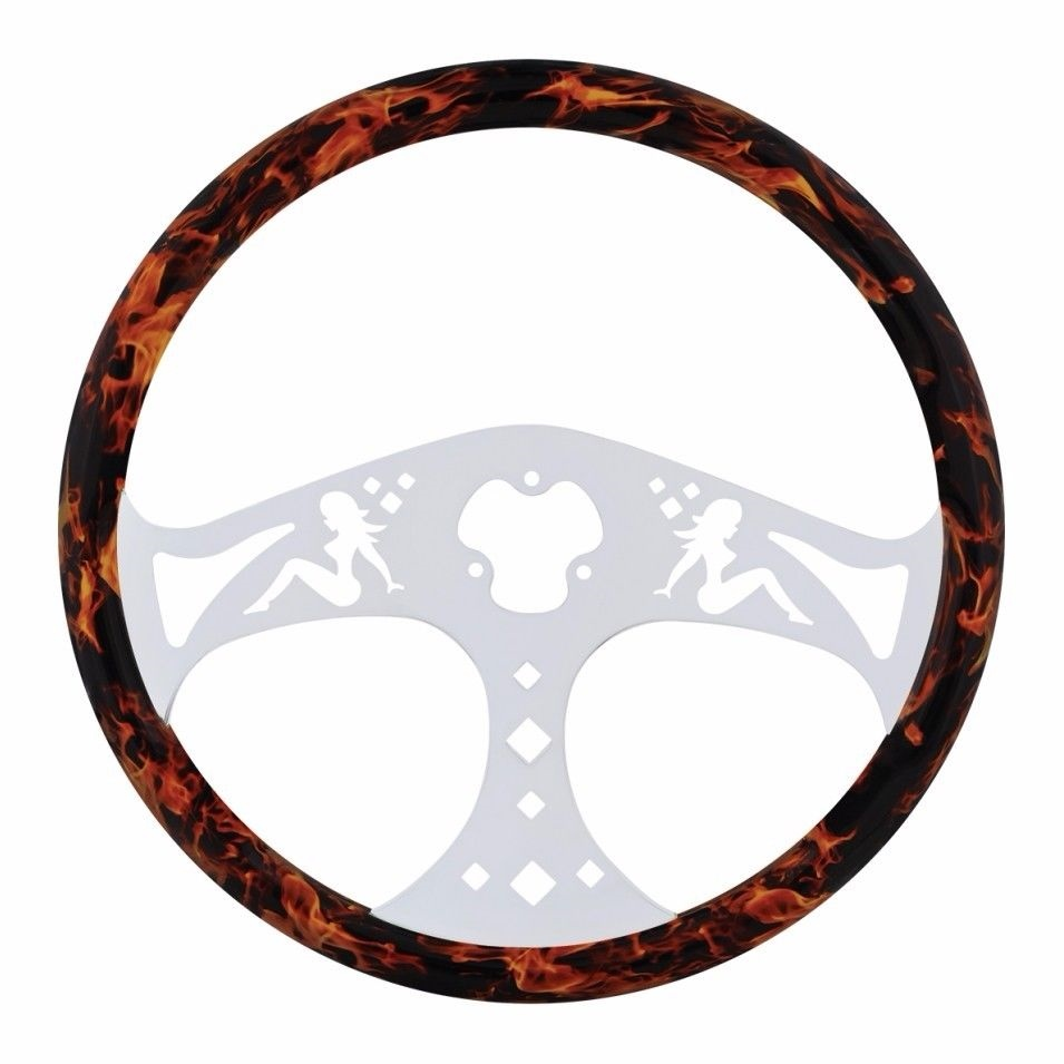 """18"""" Flame Steering Wheel with Hydro-dip Finish Wood, Lady"""