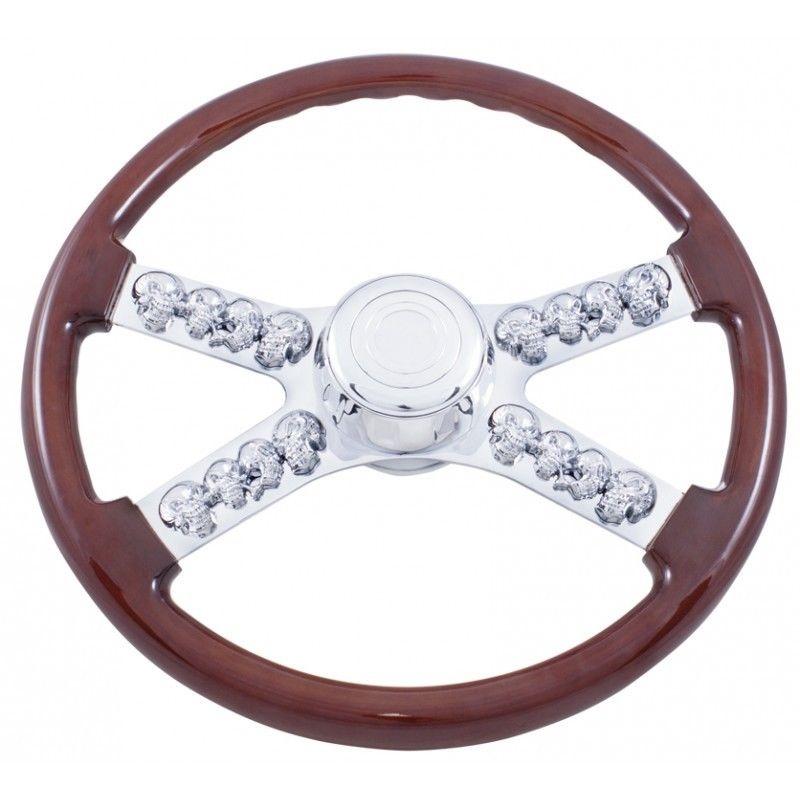 """18"""" Chrome Skull Spokes Steering Wheel for Kenworth, Peterbilt, Semi Trucks"""