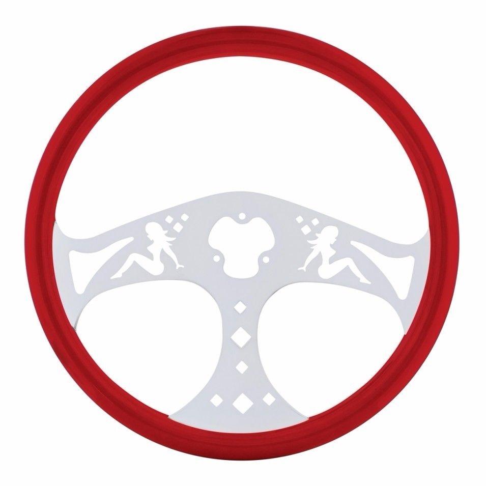 """18"""" Lady Steering Wheel for Peterbilt, Kenworth, Freightliner, International, Red"""