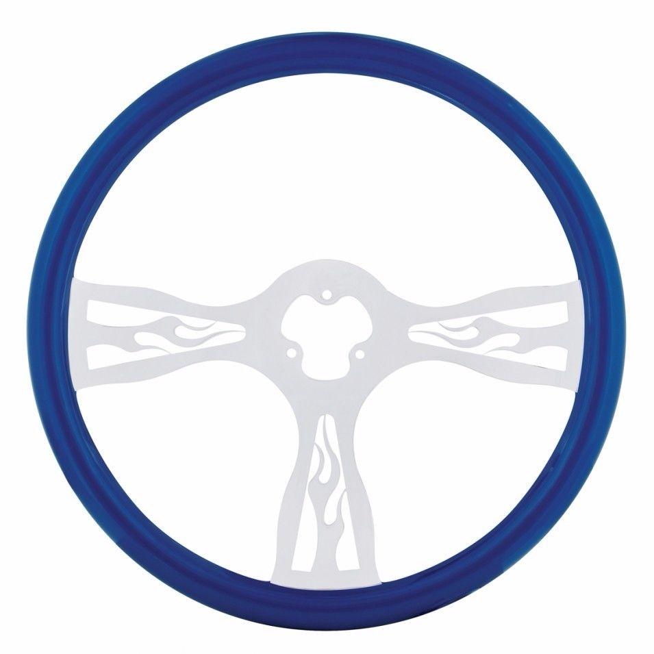 """18"""" Flame Steering Wheel for Peterbilt, Kenworth, Freightliner, International, Blue"""